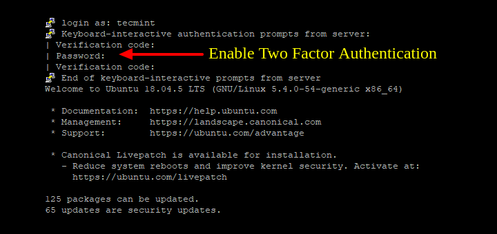 Enable Two Factor Authentication in Ubuntu