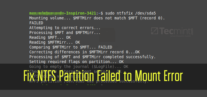 Fix NTFS Partition Failed to Mount Error