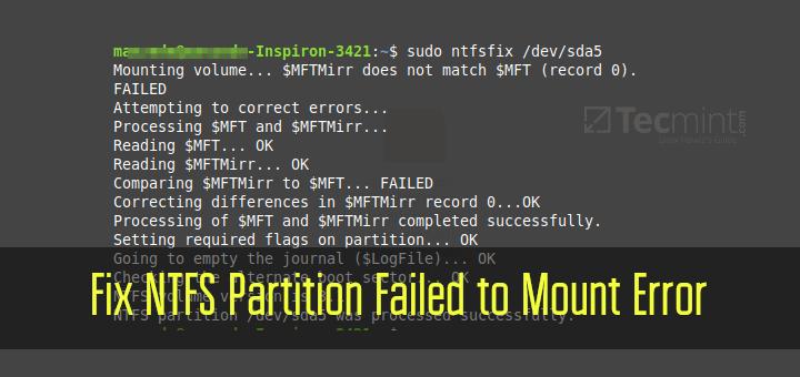 Fix NTFS Partition Failed to Mount Error