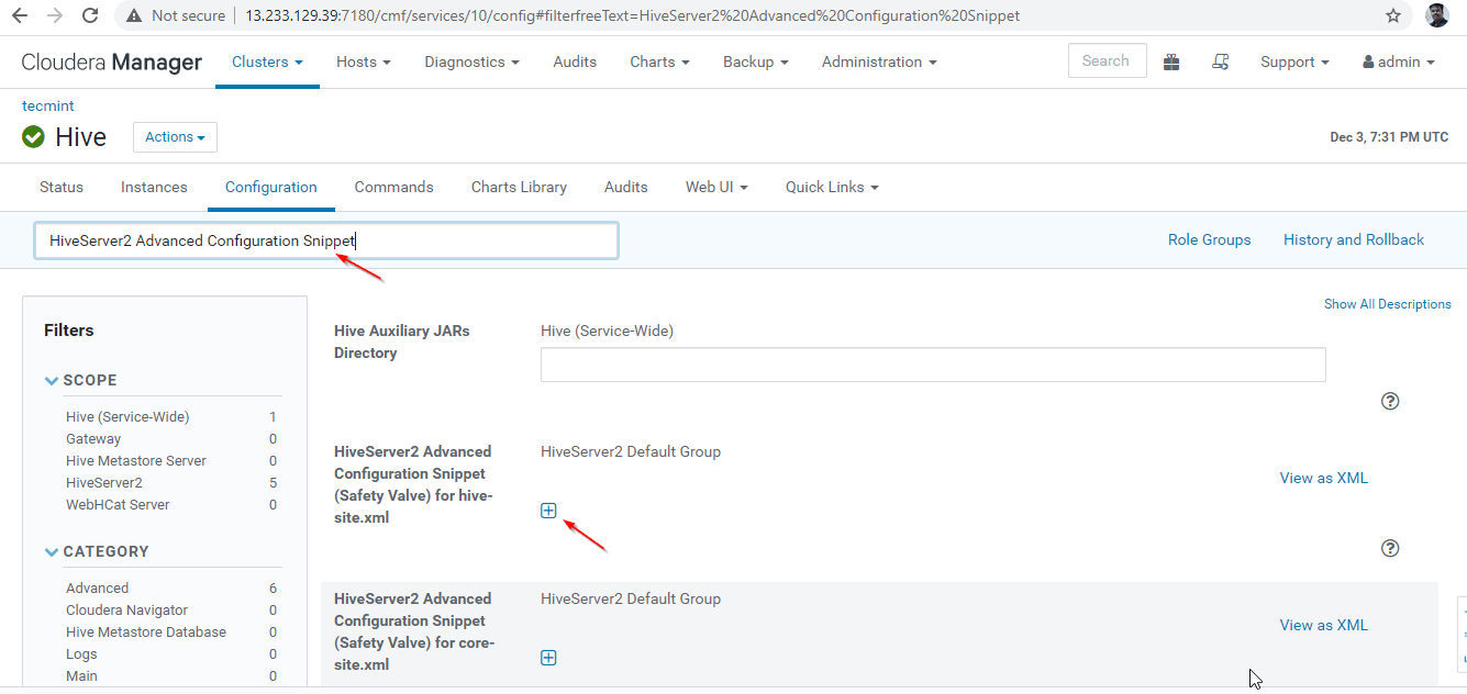 HiveServer2 Advanced Configuration Snippet