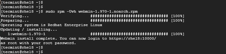 Install Webmin on RHEL 8