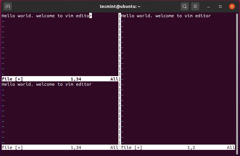 Set Equal Sizes of Vim Workspace