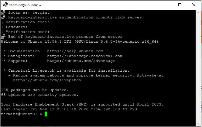Ubuntu SSH login