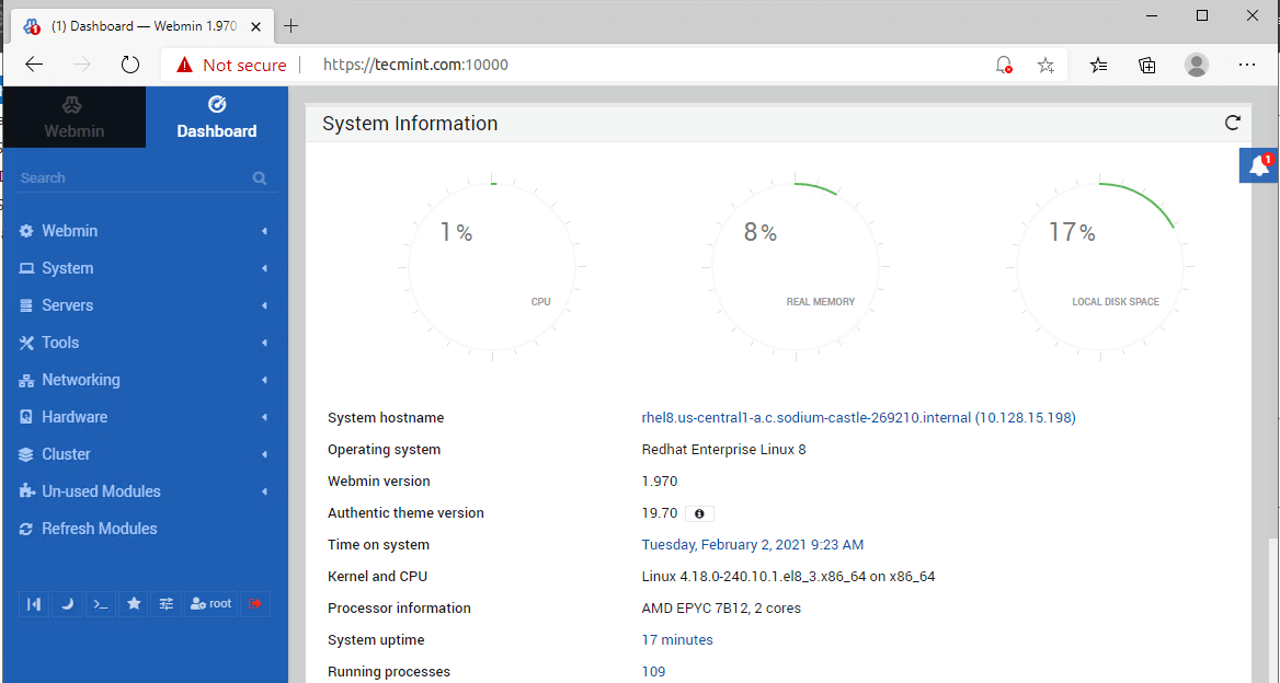 Webmin Dashboard in RHEL 8