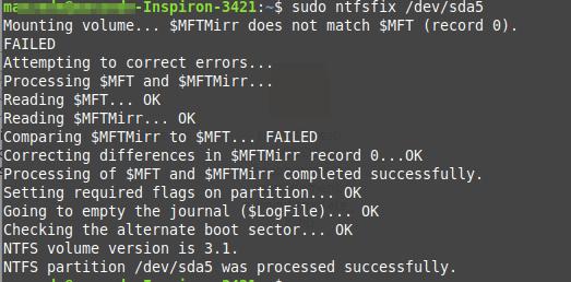 Fix NTFS Failed to Mount Error