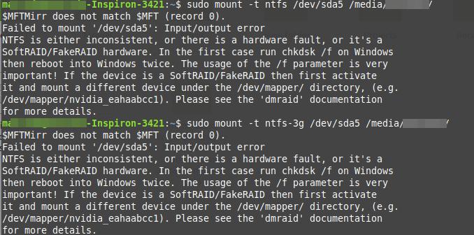 NTFS - Failed to mount '/dev/sdax': Input/output error