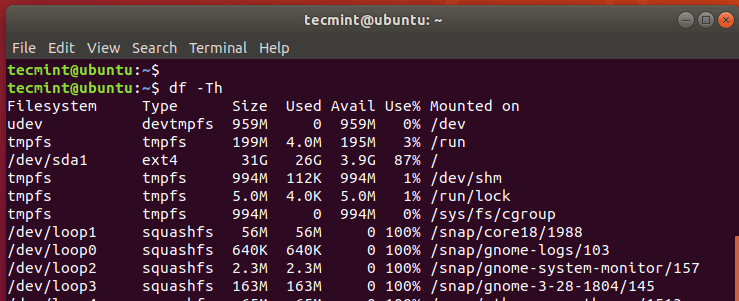 Check Linux Disk Usage