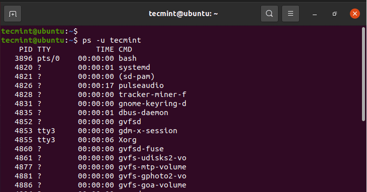 Check Linux User Running Processes