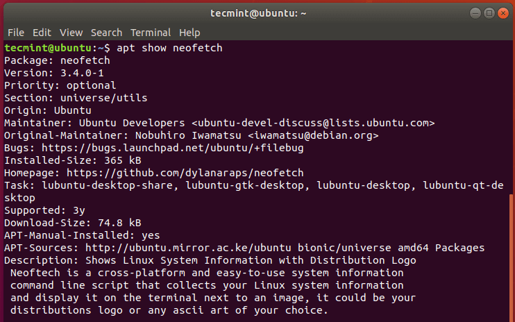 Check Package Info in Ubuntu