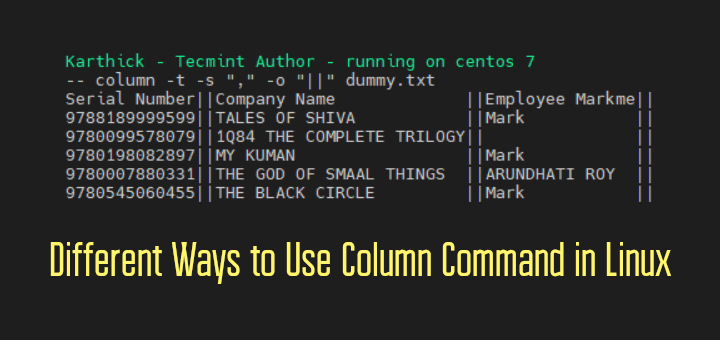 Column Command Examples