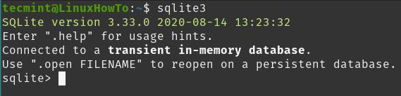 Start a SQLite Session