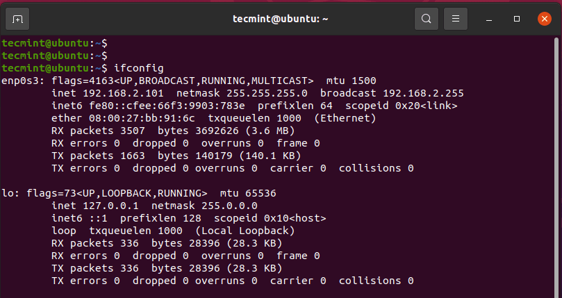 ifconfig - lists network interfaces