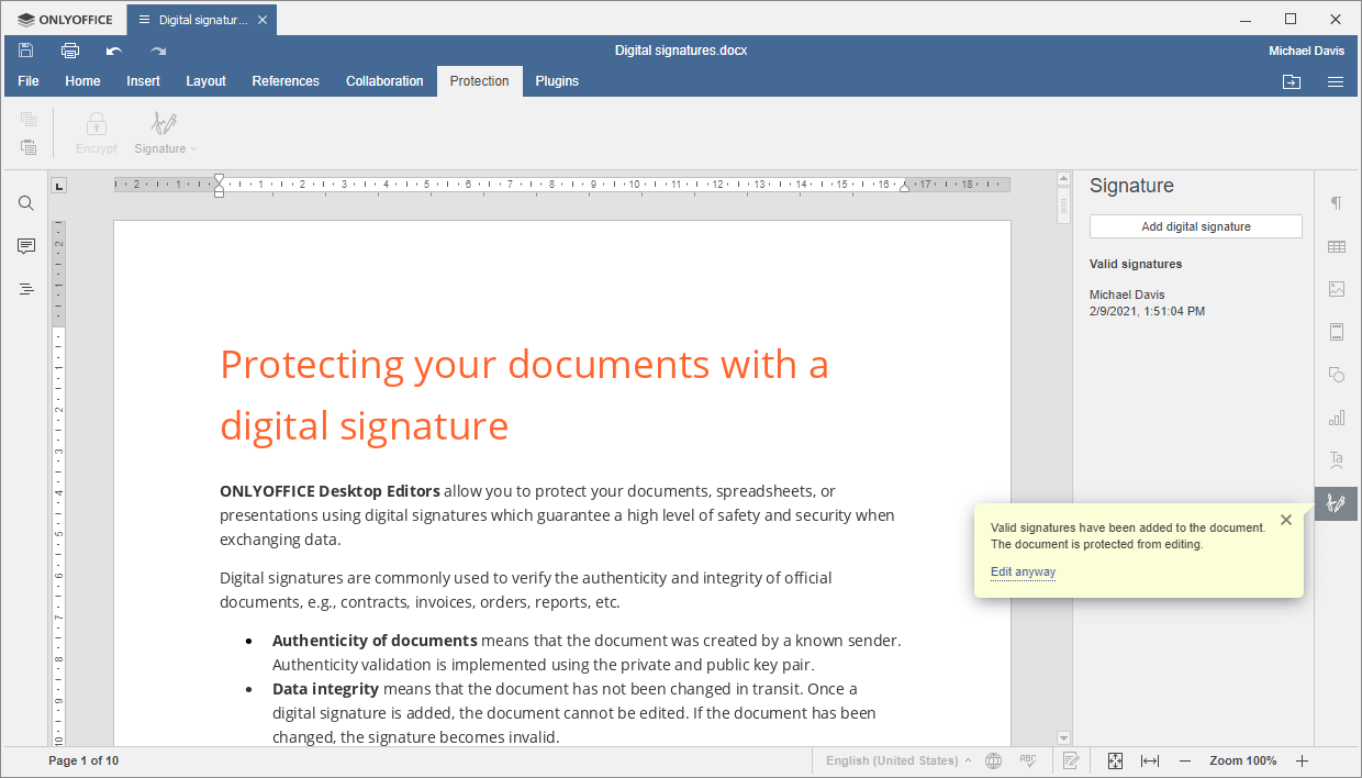 Invisible Digital Signature Added to Doc