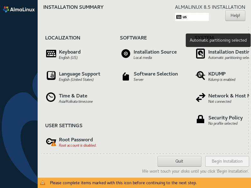 AlmaLinux Installation Destination