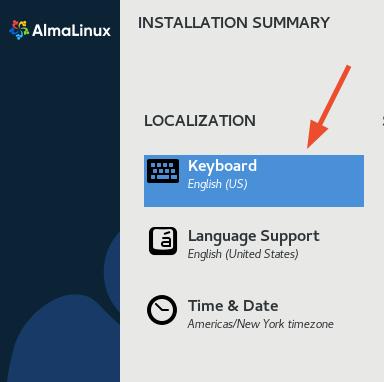 Select AlmaLinux Keyboard