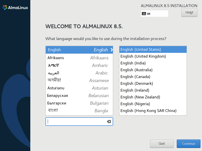 Select AlmaLinux Language