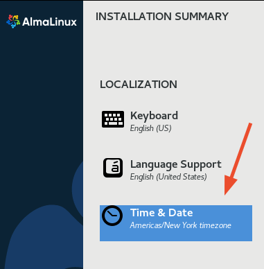 AlmaLinux Time and Date