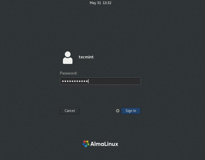 AlmaLinux User Password