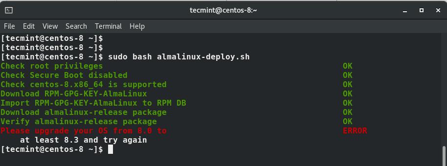 CentOS 8 Migrate to AlmaLinux
