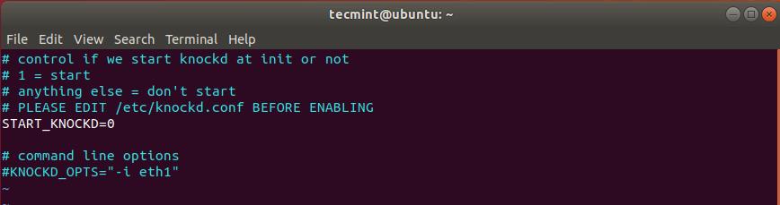 Default knockd Configuration Settings