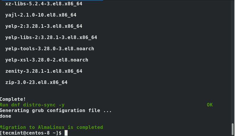 Migration to AlmaLinux Completes