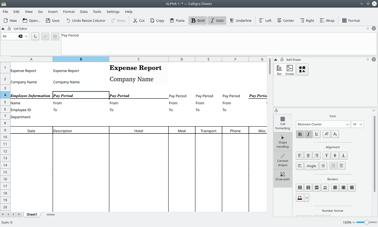 Calligra Sheets for Linux