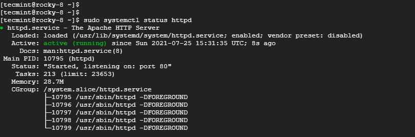 Check Apache Status on Rocky Linux