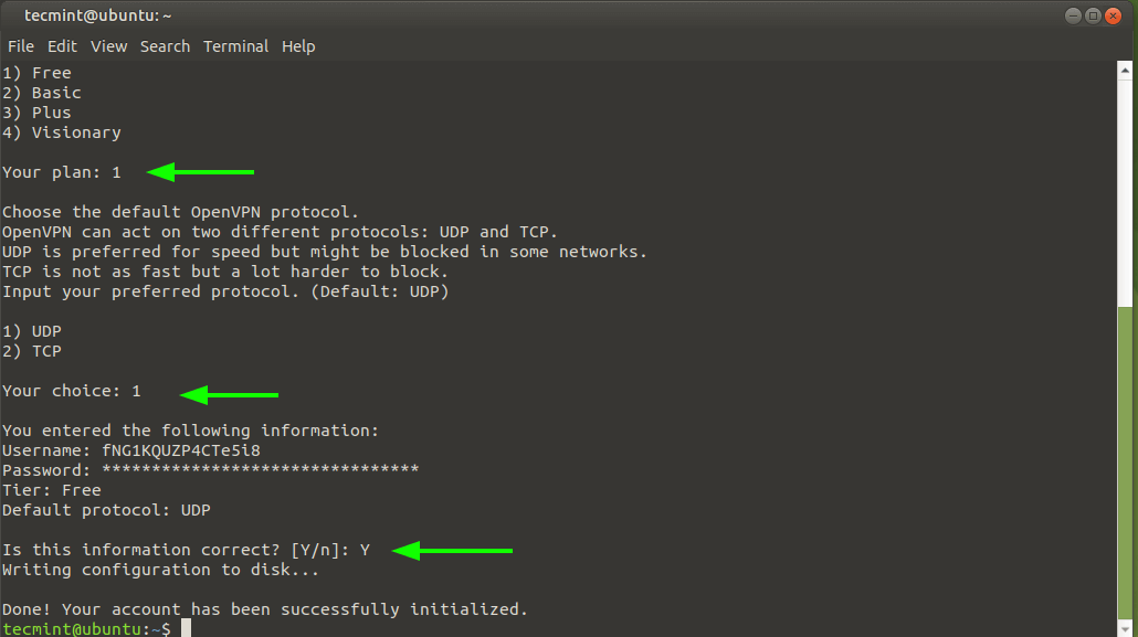 Select the OpenVPN protocol
