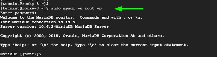 Login to MariaDB Shell