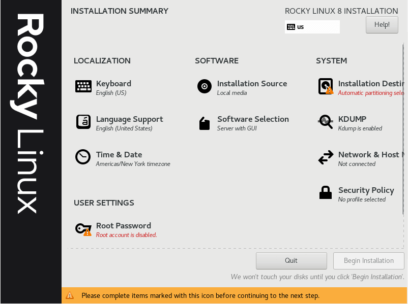 Rocky Linux Installation Summary