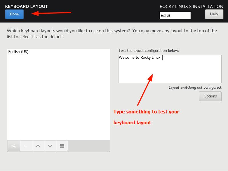 Rocky Linux Keyboard Layout