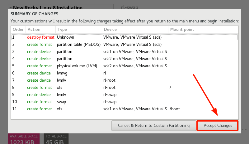 Rocky Linux Partition Changes