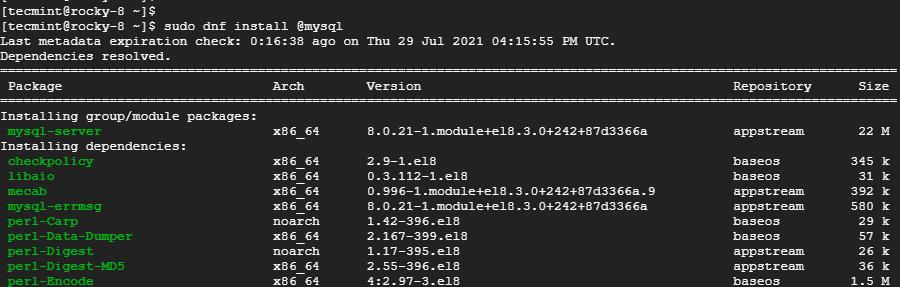 Install MySQL in Rocky Linux