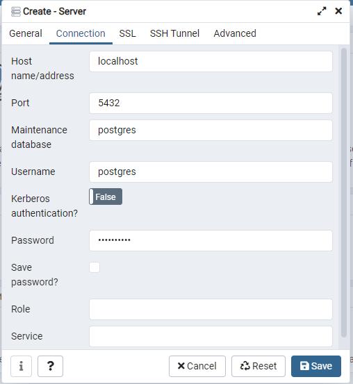 Conexión PgAdmin PostgreSQL