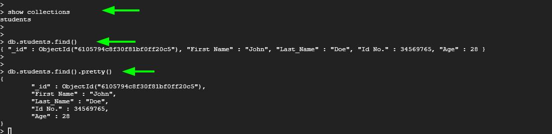 View MongoDB Database Data