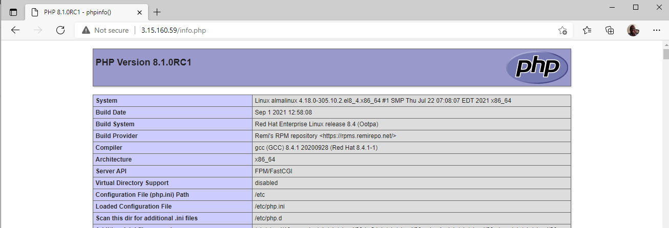 Check PHP Info in AlmaLinux