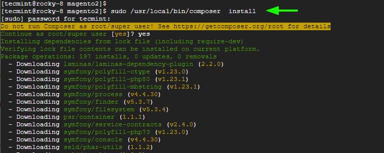Instalar módulos PHP de Composer