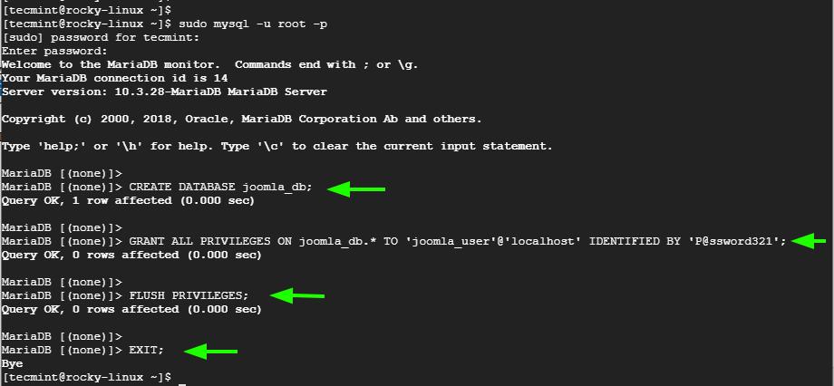 Create Joomla Database
