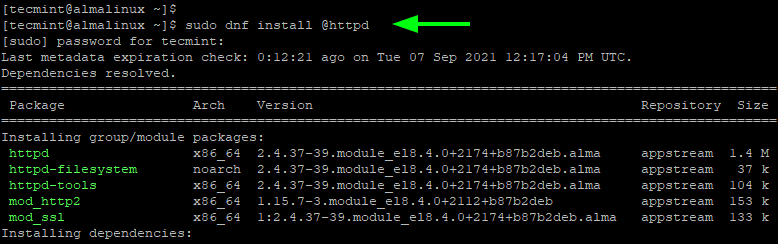 Install Apache in AlmaLinux