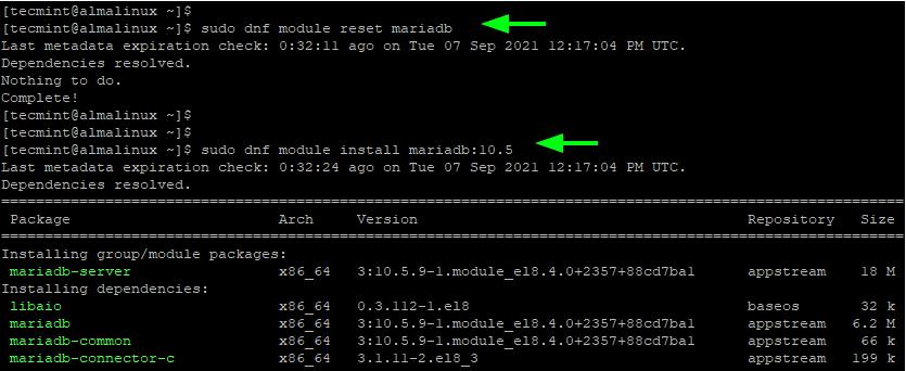 Install MariaDB in AlmaLinux