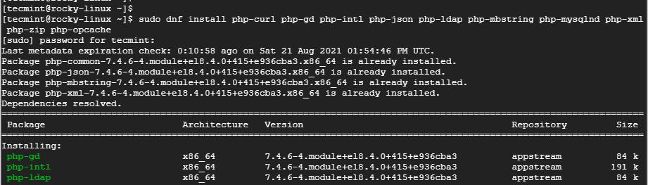 Instalar módulos PHP