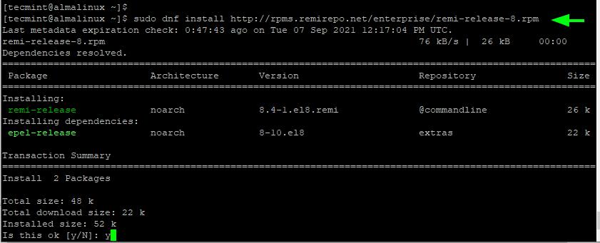 Install Remi in AlmaLinux