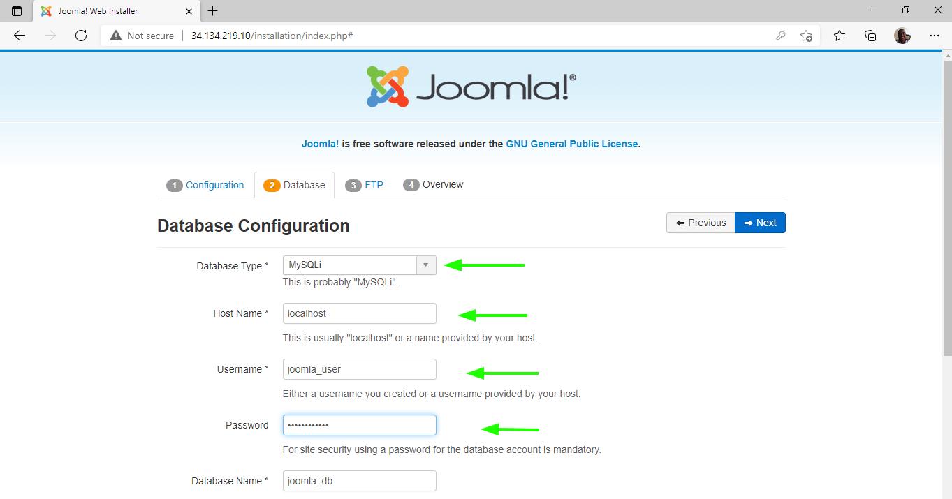 Joomla Database Configuration