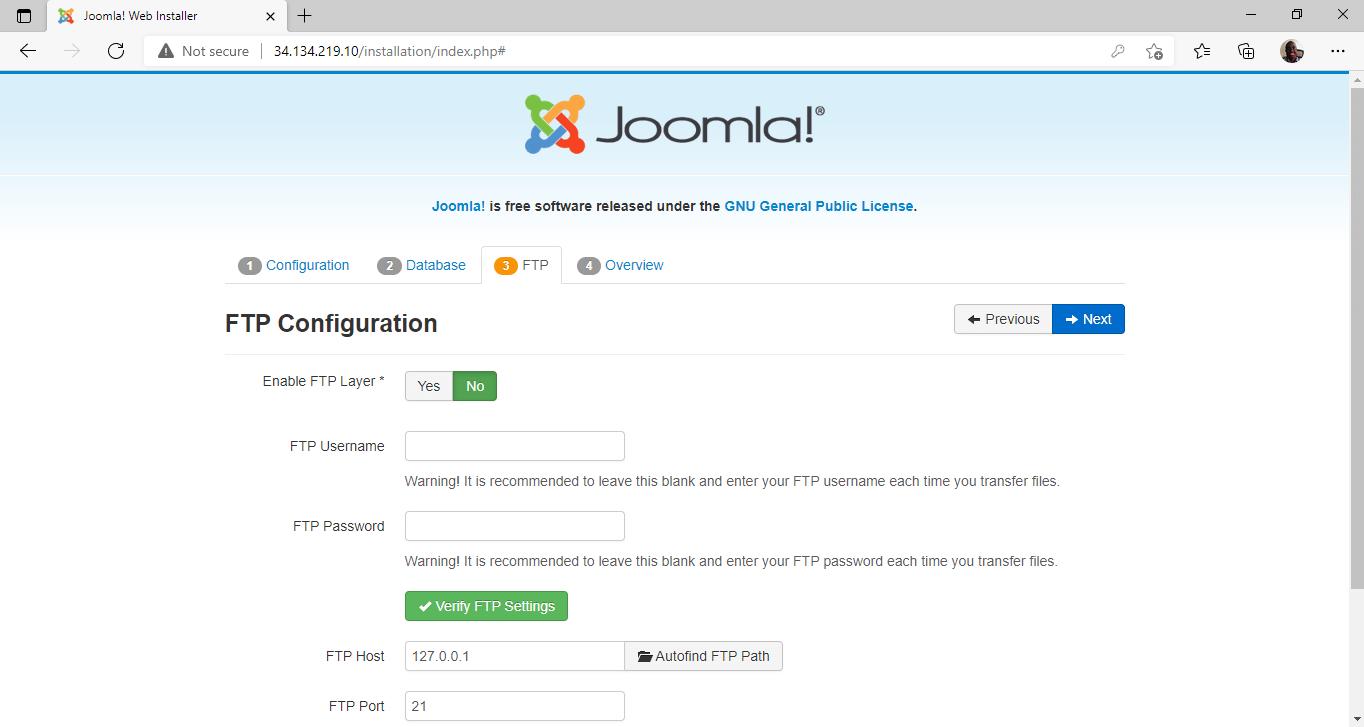 Joomla FTP Configuration