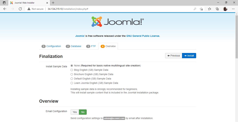 Joomla Installation