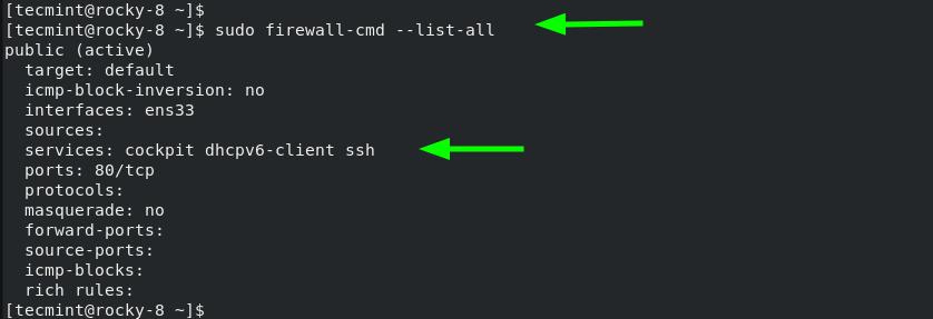 List Firewalld Rules