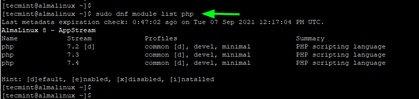 List PHP in AlmaLinux