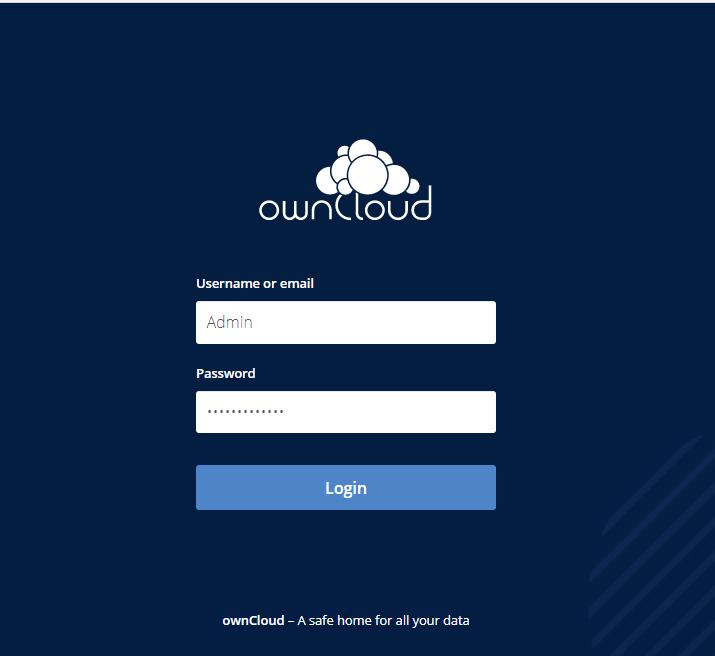Inicio de sesión de administrador de OwnCloud