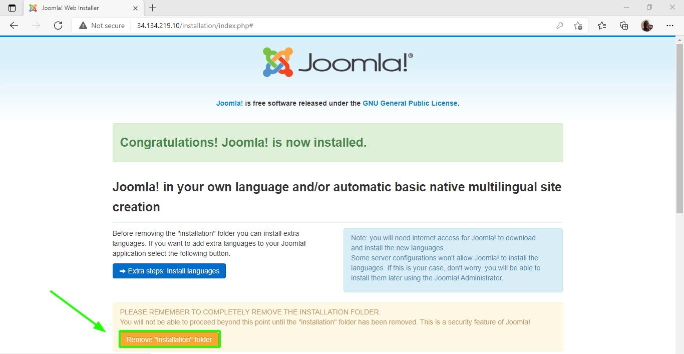 Remove Joomla Installation Folder