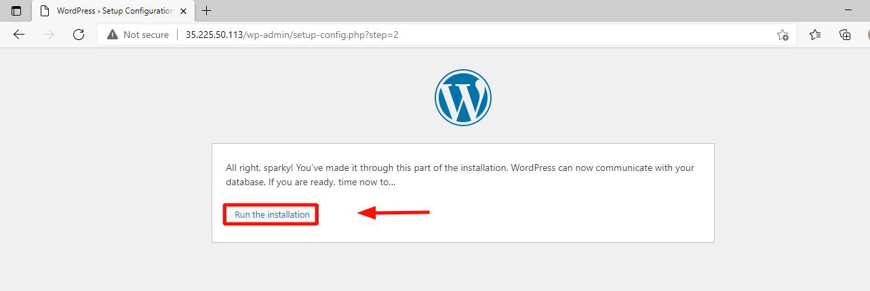 Ejecute la instalación de WordPress